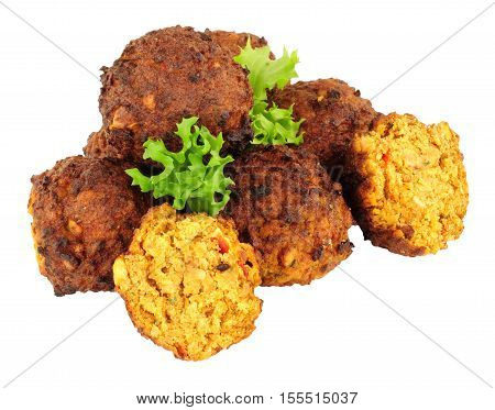 Moroccan style falafels isolated on a white background