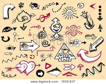 Hand drawn set of arrows Vector. Visit my portfolio for big collection of doodles