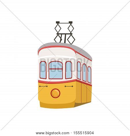Public Funicular In Lisbon Portuguese Famous Symbol . Touristic Well-known Emblems Of Portugal Simple Illustration Isolated On White Background.