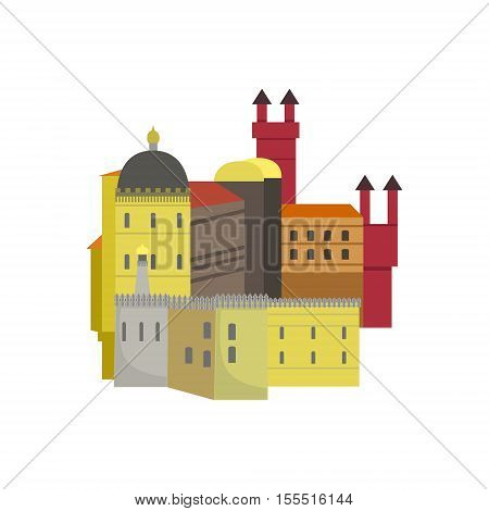 Old Town Architecture Portuguese Famous Symbol . Touristic Well-known Emblems Of Portugal Simple Illustration Isolated On White Background.