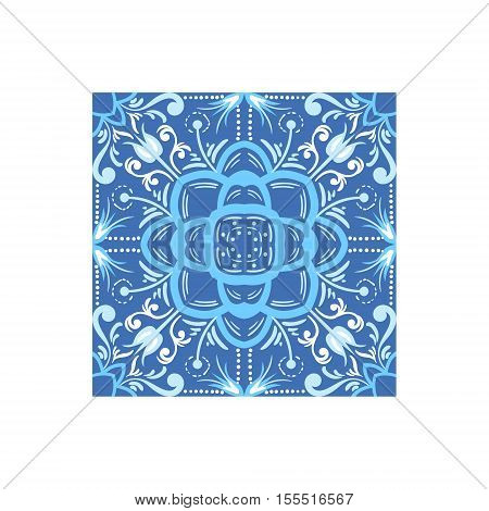 Ornamental Tile Portuguese Famous Symbol. Touristic Well-known Emblems Of Portugal Simple Illustration Isolated On White Background.