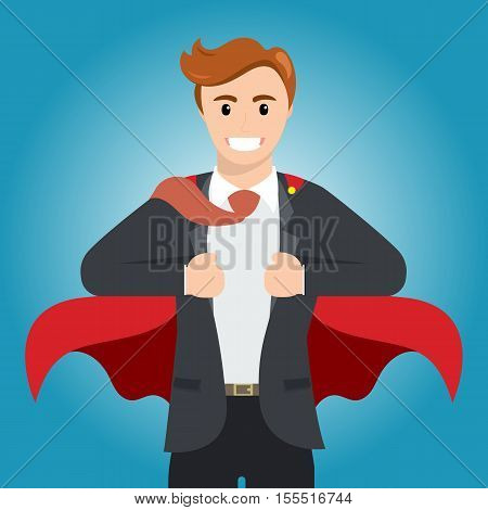 Businessman turns in Superhero with red cape. Happy smiling businessman turns in Superhero suit. Business concept illustration.