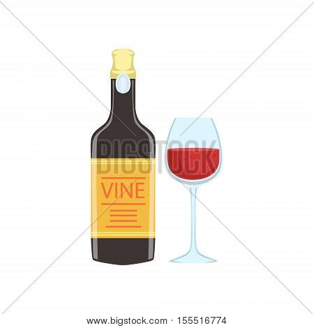 Red Wine Bottle And Glass Portuguese Famous Symbol. Touristic Well-known Emblems Of Portugal Simple Illustration Isolated On White Background.