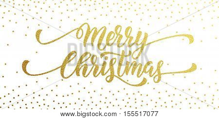 Merry Christmas gold glitter lettering design. Christmas greeting card, poster, banner. Vector golden glittering snow, snowflakes, white dots on black background