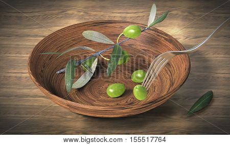 wooden bowl with olive branches, 3d rendering