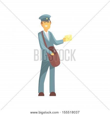 Young Smiling Postman In Uniform. Graphic Design Cool Geometric Style Isolated Drawing On White Background