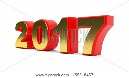 3D abstract illustration of 2017 year on a white background