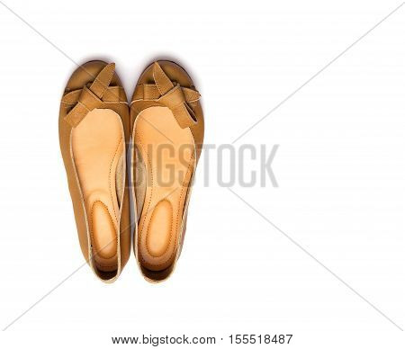 Brown female shoes on a white background