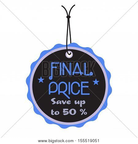 Isolated black tag with the text final price written on the tag