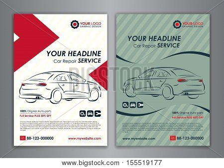 A5 A4 set car repair service business layout templates automobile magazine cover. Auto repair shop business catalogue cover layout and poster template design. Vector illustration.