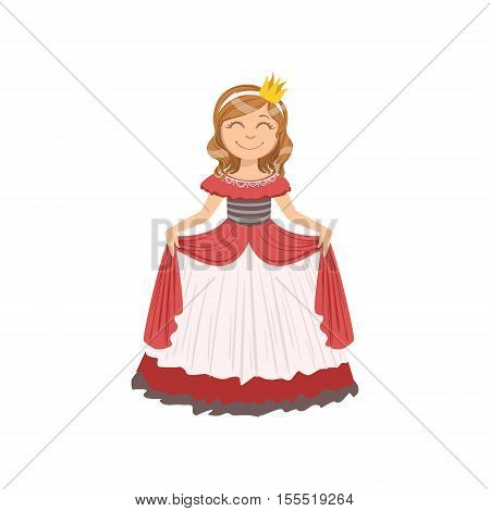 Little Girl In Red Dress Dressed As Fairy Tale Princess. Cute Flat Child Character In Bright Colored Clothes Isolated On White Background