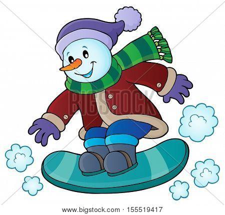 Snowman on snowboard theme image 1 - eps10 vector illustration.