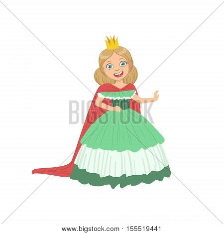 Little Girl In Green Dress Dressed As Fairy Tale Princess. Cute Flat Child Character In Bright Colored Clothes Isolated On White Background