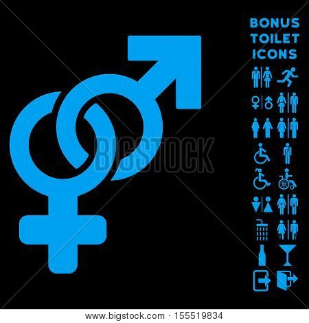Heterosexual Symbol icon and bonus gentleman and female WC symbols. Vector illustration style is flat iconic symbols, blue color, black background.