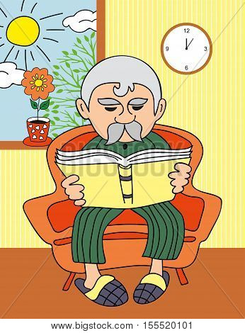 Vector Illustration: grandfather reading a book. Illustration of an Elderly Man Reading a Book