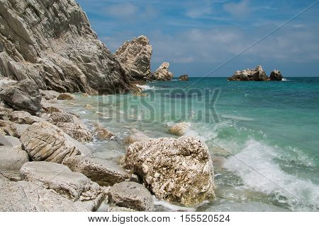 The famous beach of two sisters (Spiaggia delle due sorelle) at Conero park in Italy