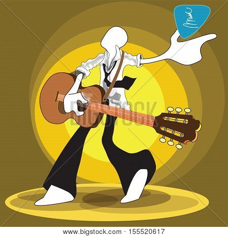 Shadow Man playing guitar folk acoustic unplug relax time from office hour can use advertise illustration logo symbol graphic design and clipping path.