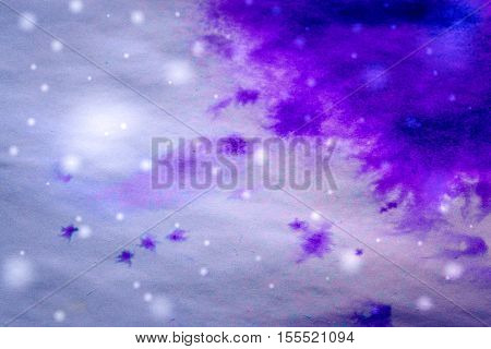 winter background purple ink drips and snowflakes. Purple ink spreads create a frost on a white surface. Abstract base basis background backdrop