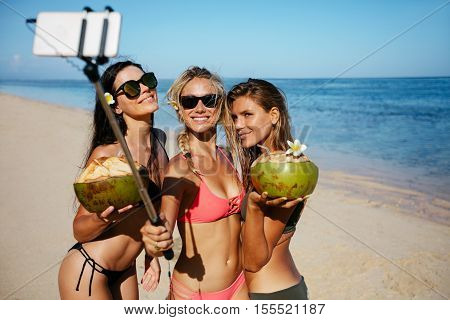 Group of young woman holding coconuts and taking selfie on the beach. Three young women in swimsuit on the beach taking self portrait with smart phone.