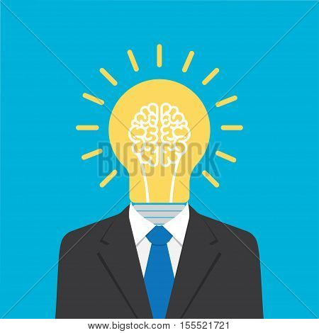 businessman with light bulb head. Concept about idea. creativity metaphor leader concept. Vector illustration