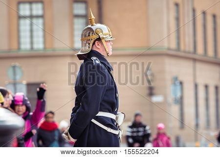 Stockholm Sweden - April 02 2016: Swedish Royal Guard during the change of guard in Stockholm