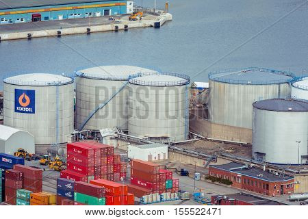 Stockholm Sweden - March 30 2016: Statoil Fuel & Retail large containers in the port of Stockholm Sweden