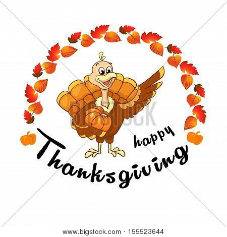 Beautiful, colorful cartoon of turkey bird for Happy Thanksgiving celebration, can be use as flyer, poster or banner. Vector illustration of happy Thanksgiving turkey. Vector clip art