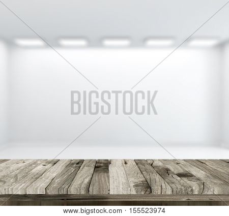3D render of a wooden table with defocussed empty white room in background