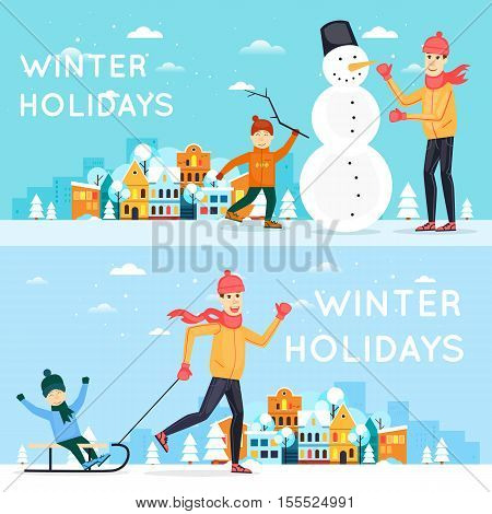Father and son sculpt snowman. Father sledding child. Winter cityscape, fun, vacation, sports, outdoors. New year. Banners. Flat design vector illustration.