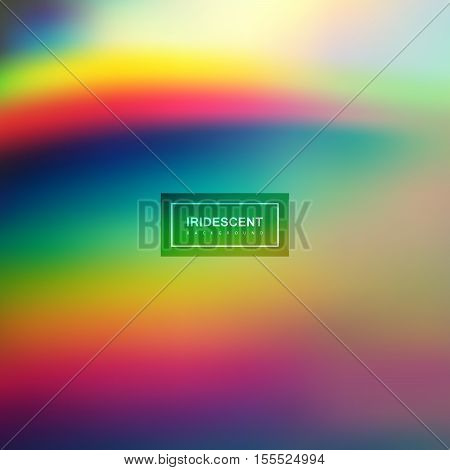 Fluid iridescent multicolored background. Vector illustration of iridescent rainbow fluids. Holographic neon effect. Applicable for flyer, banner, poster, brochure, cover. Spectrum colors poster