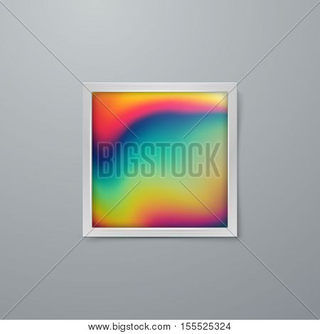 Frame mock-up with artistic iridescent poster design. Vector illustration of paper frame with textured paper. Vector mock up. Creative abstract rainbow poster design