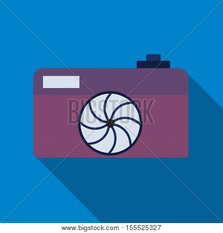 Camera icon. Professional photocamera symbol. Blue background with flat web icon. Vector