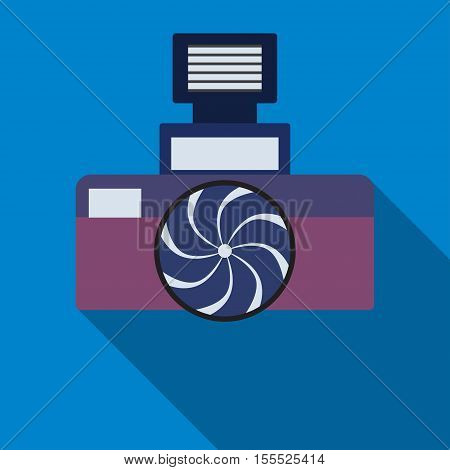Photocamera icon on the blue background. Eps 10 vector file.