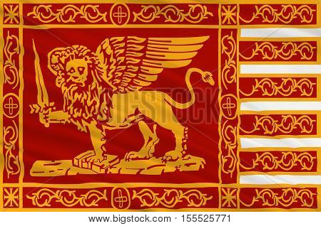 Flag of Venice is a city in northeastern Italy and the capital of the Veneto region. 3d illustration