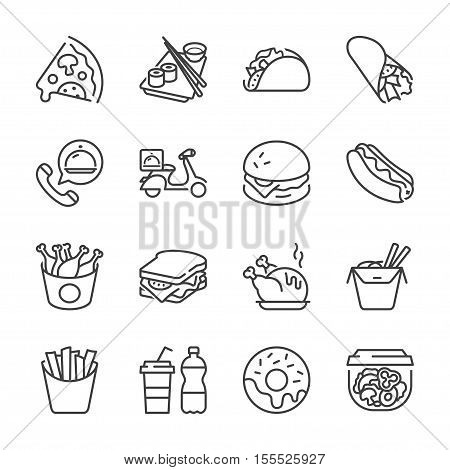 basic fast food thin line icon set. isolated. black color for restaurants and fast food outlets