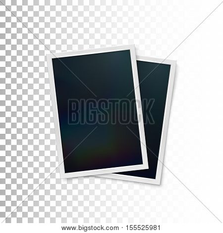 Photo frames mock-up. Vector illustration of Realistic iridescent photo frame on checkered transparent background. Vector mock up