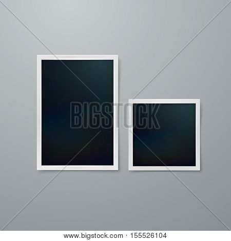Instant photo frames mock-up. Vector illustration of Realistic iridescent photo frame on textured paper. Vector mock up