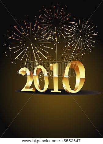 vector new year 2010 beautiful gold design with firework