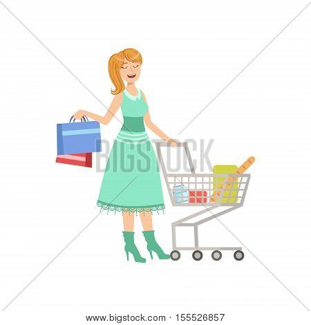 Woman Shopping With Cart And Paper Bags. Bright Color Cartoon Simple Style Flat Vector Sticker Isolated On White Background