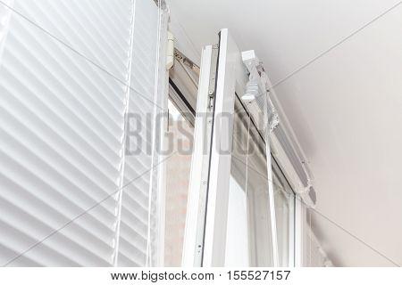 Mount white plastic window. Open window pvc.