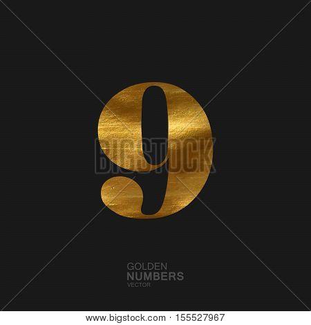 Golden number 9. Typographic vector element for design. Part of glow golden painted alphabet. Digit nine with golden paint texture. Vector illustration