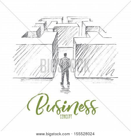 Vector hand drawn business concept sketch. Bisinessman standing backwards at entrance of maze and hesitating whether to go or not. Lettering Business concept