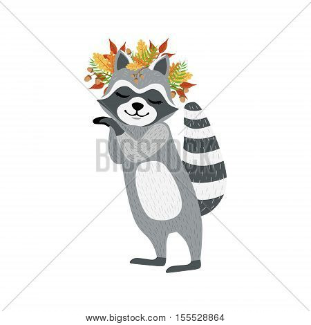 Cute Raccoon Character With Autumn Leaves Chaplet. Cartoon Humanized Animal Icons In Girly Style On White Background.