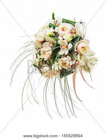 Flower arrangement of peon flowers and orchids isolated on white background. Closeup.