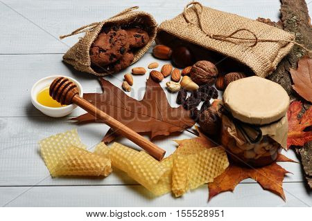 Autumn Composition Of Nuts