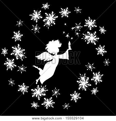 Christmas  Angel with candle in snowflakes frame decal