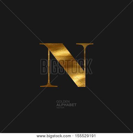 Golden Letter N. Typographic vector element for design. Part of glow golden painted alphabet. Letter N with golden paint texture. Vector illustration