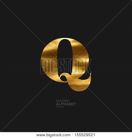 Golden Letter Q. Typographic vector element for design. Part of glow golden painted alphabet. Letter Q with golden paint texture. Vector illustration