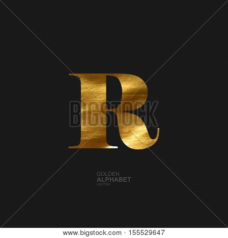 Golden Letter R. Typographic vector element for design. Part of glow golden painted alphabet. Letter R with golden paint texture. Vector illustration