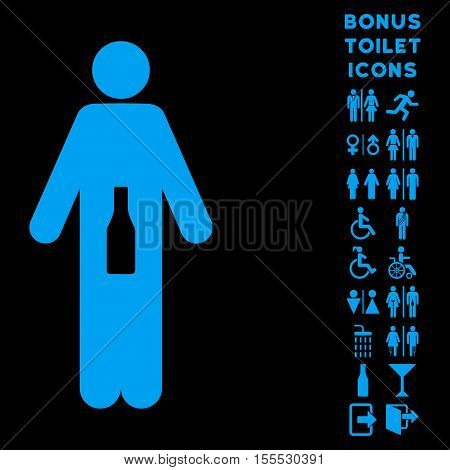 WC Man icon and bonus gentleman and lady WC symbols. Vector illustration style is flat iconic symbols, blue color, black background.